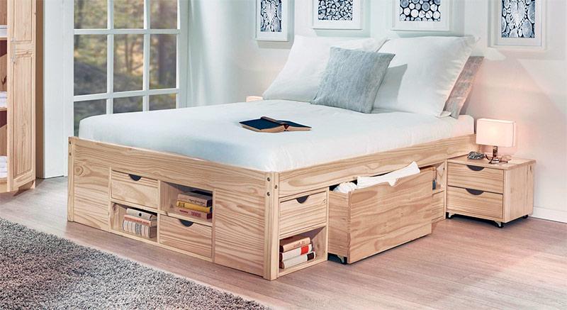 cama de palets con cajones